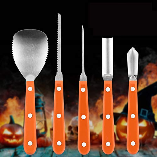 5 Piece Halloween Pumpkin Carving Kit Professional Stainless Steel