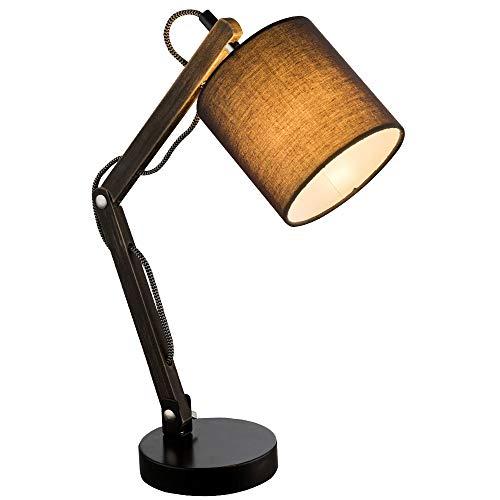 Lampfitting van hout en metaal, met lampenkap voor E14-fitting.