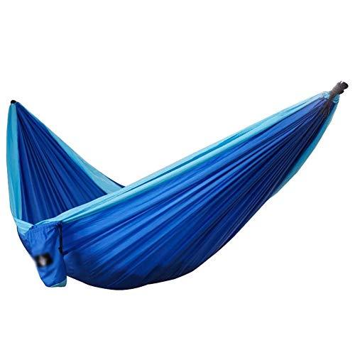 WEHOLY Hamac Swing Hamac Double Portable Léger Parachute Tissu Hamac Swing De Jardin Camping en Plein Air Voyage Hamac De Camping (Couleur: Bleu Royal Bleu Clair, Taille: 300x200cm)