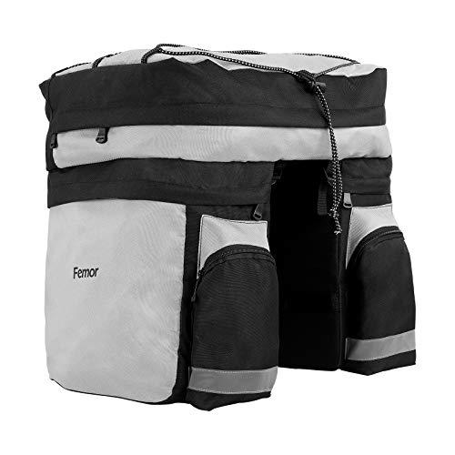 femor 3 in1 Fahrradtasche für Gepäckträger - Leichte & Reflektierend & 60L Grosse Kapazität, Gepäckträgertasche für Fahrrad zum Mittel- und Fernreisen, Fahrrad satteltaschen mit Mehrere Tasche