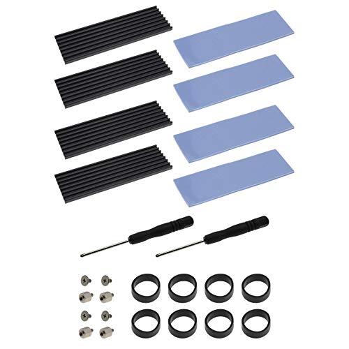 2 x SSD 2280 M 2 kits de instalación de aletas refrigerados de aluminio tornillos de protección para disipador térmico SSD Anillas de silicona con destornillador