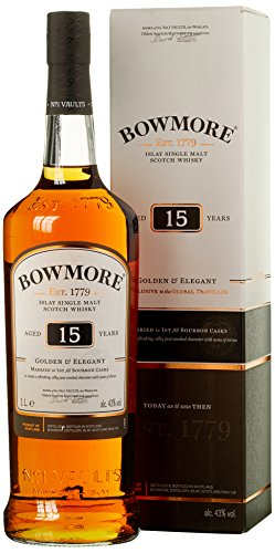 Bowmore 15 Years Old Golden & Elegant Whisky mit Geschenkverpackung (1 x 1 l)