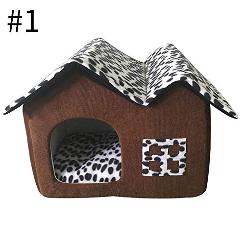 Kennel Dog Bed Lovely Dog House Short Plush Kennels for Small Medium Dogs Removable Puppy Nest Foldable Dog Kennel Pet Sleeping House OneSize Style1