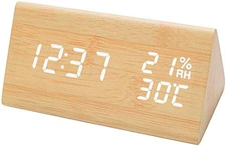 Reloj despertador digital con pantalla LED, pantalla electrónica, 3 ajustes de alarma, detección de humedad y temperatura, reloj eléctrico de madera para dormitorio, mesita de noche