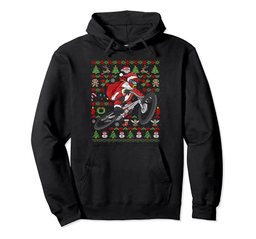 Ugly Christmas Mountain Bike Santa Claus BMX Navidad Sudadera con Capucha
