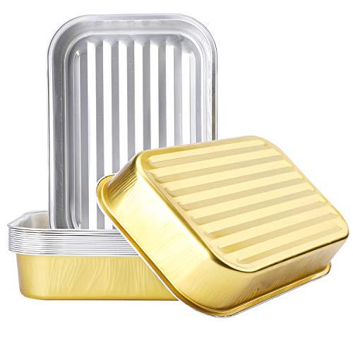 Bandejas desechables de aluminio para hornear, paquete de 15 bandejas de horno de lata, tamaño medio, de aluminio profundo para hornear, sartenes para asar pasteles