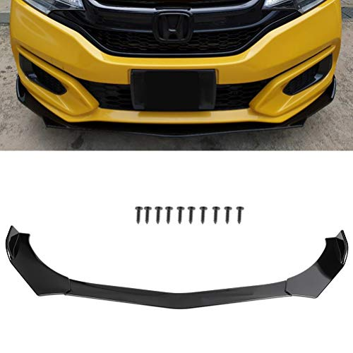SCITOO Black ABS Front Bumper Body Kit Spoiler Chin Spoiler Front Bumper Lip Universal Fits for Most Cars