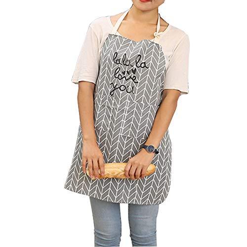LLRY Delantal de Lona de algodón para Mujer con práctico Bolsillo, Duradero para Cocina y Cocina, Delantal Profesional de Rayas para cocinar, Asar y Hornear, White Gray Triangle Lattice, 77CM X 60CM