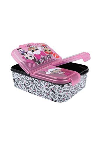 LOL Surprise Kinder Premium Lunchbox Brotdose Frühstücks-Box Vesper-Dose mit 3 Fächern
