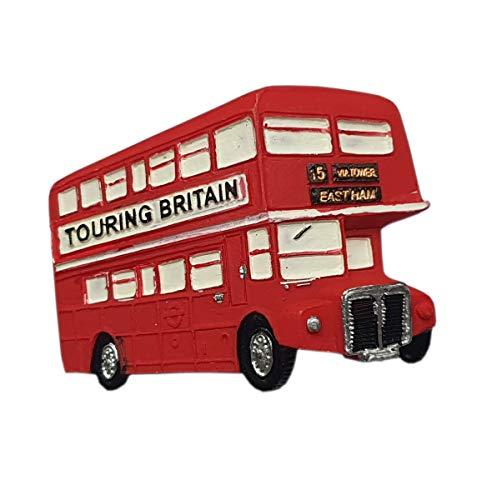 thomas benacci Aimant de réfrigérateur en forme de bus britannique touristique - Souvenir de Londres Angleterre - Décoration pour la cuisine et la maison