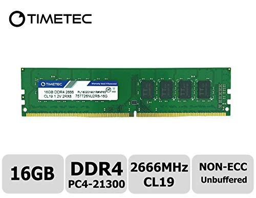 Timetec Hynix IC DDR4 2666MHz PC4-21300 Unbuffered Non-ECC 1.2V CL19 2Rx8 Dual Rank 288 Pin UDIMM Desktop Memory RAM Module Upgrade (16GB)