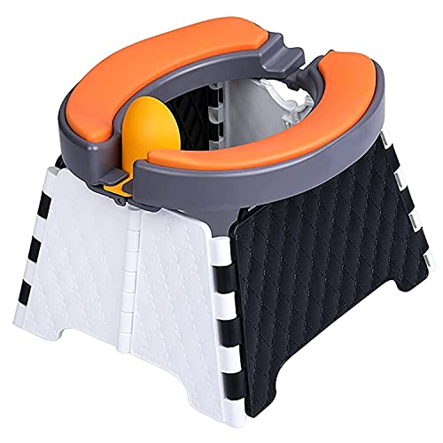 Portable Potty for Toddler Travel for Training Seat Kids Travel | Foldable Potty Travel Toilet Seat | Baby Potty Seat for Indoor and Outdoor | 60 Disposable Bags | Soft Rubber Cushion
