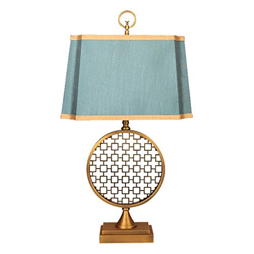 Bedside table lamp New Chinese Classical Wrought Iron Table Lamp Bedroom Bedside Lamp Fabric Chinese Style Living Room Retro Table Lamp Button Switch bedside table lamps for bedrooms ( Color : A )