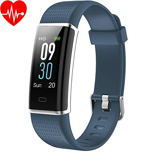 YAMAY Fitness Tracker Wrist Watch Heart Rate Monitor Smartwatch Women Men Waterproof IP68 Color Screen Smart Watch Activity Tracker Pedometer for iPhone Samsung Android iOS, TE352-BL-F-FR, blue