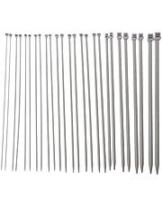 JIACUO 13 Pares de 13 tamaños 2 mm a 10 mm Agujas de Tejer Set de Punto único Punto de Bricolaje Herramienta de Acero Inoxidable
