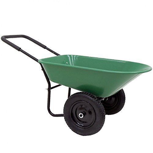 Oypla Heavy Duty Plastic Two Wheeled 70L Yard Garden Wheelbarrow Pneumatic Tyre
