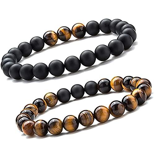 Pulsera Unique Chakra Duo para mujer, ojo de tigre, perlas de 8 mm, piedras curativas, calidad