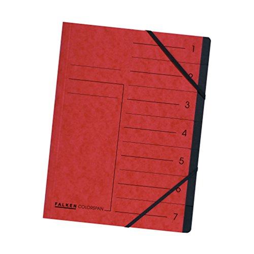 Original Falken Premium Ordnungsmappe. Made in Germany. Aus extra starkem Colorspan-Karton DIN A4 7 Fächer und 2 Gummizüge mit Organisationsdruck rot Ringmappe Register-Mappe