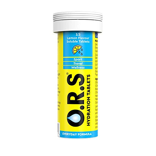 ORS Hydration Tablets with Electrolytes Vegan Gluten and Lactose Free Formula Natural Lemon Flavour 12 Tablets