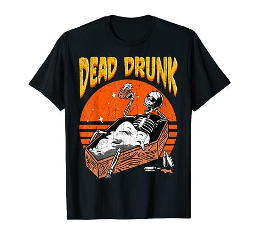 Dead Drunk Skeleton Sarg Bierliebhaber Halloween Disfraz Camiseta