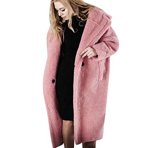 TUDUZ-Damen Mantel Winter Lang Warm Plüsch Dicke Jacke Cardigan Overcoat Strickjacke Tasche Knopf Winterjacke(Pink,Large)