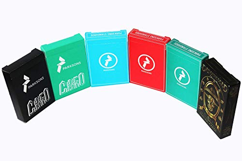 PARKSONS Cartamundi Poker Size, Standard Index Combo Pack of 6 | Variety Pack | Standards Red Blue & Green, Cairo Casino Black & Green and Day of The Dead Playing Cards