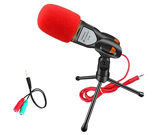 Computer Microphone,Condenser Microphone,Elinka Professional Sound Podcast Studio Microphone for PC Laptop Skype MSN Computer Recording Black with Windscreen Sponge Sleeve