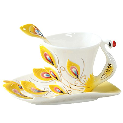 Copa De Vino Taza De Café Taza1 Pcs Peacock Coffee Cup Ceramic Cups Bone China 3D Color Enamel Porcelain Cup With Saucer And