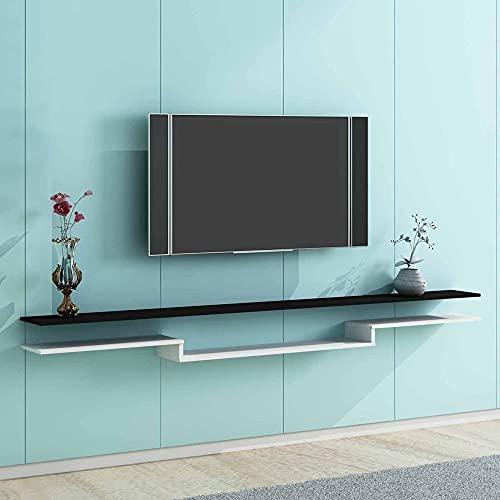 Mueble de TV Flotante, Mueble TV de Pared, Unidad de Pared Flotante de Entretenimiento, Consola de TV Colgante para Sala de Estar, Dormitorio/C/Los 140CM