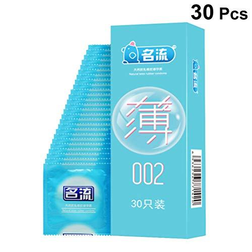 Artibetter Condones Ultrafinos Condones de Látex Natural Anticonceptivos Más Seguros Cubren Sus Sensaciones de Placer Retraso para El Hombre Que USA 30 Piezas (Azul Cielo)
