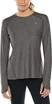 Coolibar UPF 50+ Women's Devi Long Sleeve Fitness T-Shirt - Sun Protective (Small- Charcoal Heather)