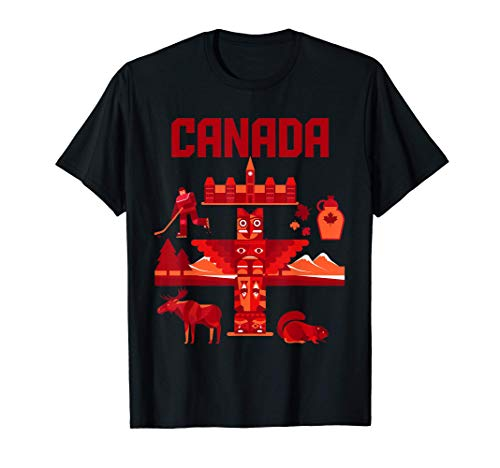 Kanadier Geschenk Elch Eishockey Spieler Kanada T-Shirt
