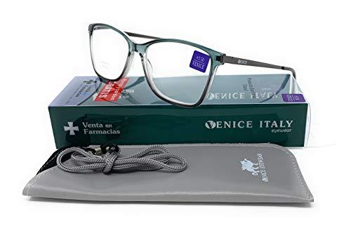 Gafas de lectura, presbicia, vista cansada, Mujer Diseño en Colores: Azul, Verde, Negro. VENICE Danny - Dioptrías: 1 a 3,5 (Verde, 1,00)