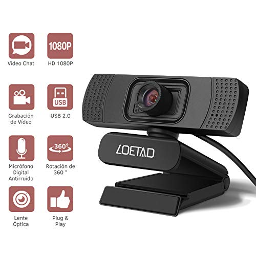 LOETAD Cámara Web Webcam 1080P Full HD con Micrófono Estéreo para Video Chat y Grabación Compatible con Windows, Mac y Android