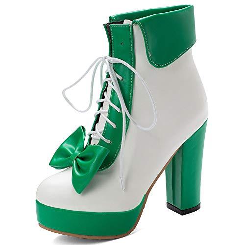 celnepho Botas de tobillo Lolita para mujer, lindos lazos, plataforma de tacón alto, vestido de fiesta, botas de media pantorrilla, color, talla 34 EU