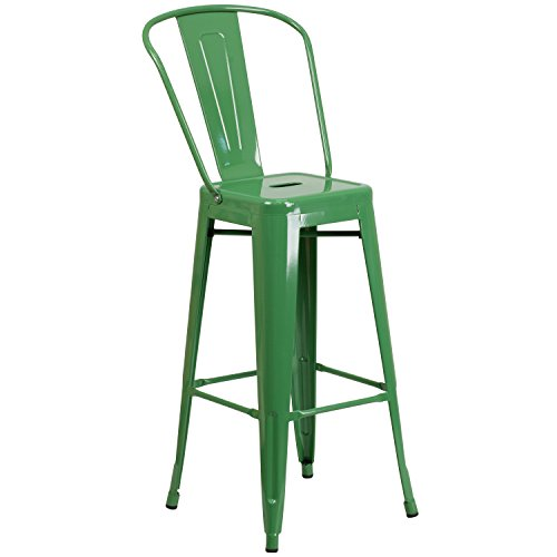 Flash Furniture Commercial Grade 30' High Green Metal Indoor-Outdoor Barstool with Removable Back