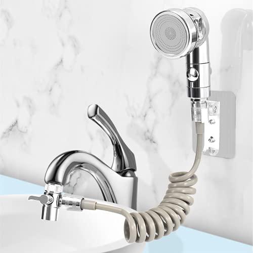 Juego de cabezal de ducha para lavabo, ducha de mano de baño, manguera telescópica, perfecto para lavar el cabello o limpiar el fregadero (plateado)
