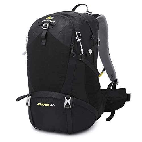 N NEVO RHINO 40L Hiking Backpack Internal Frame Backpack Waterproof with Rain Cover for Hiking Camping (Black)