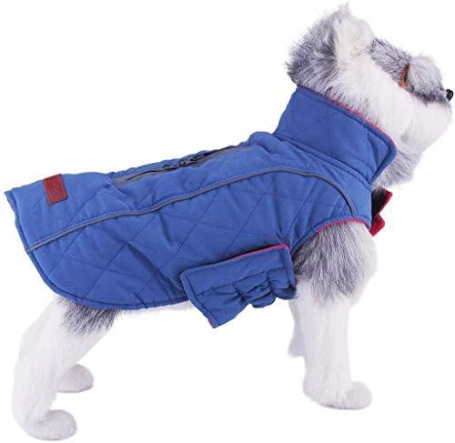 ThinkPet Warm Reversible Dog Coat - Thick Padded Comfortable Winter Dog Jacket, Reflective Safey Dog Vest S Blue