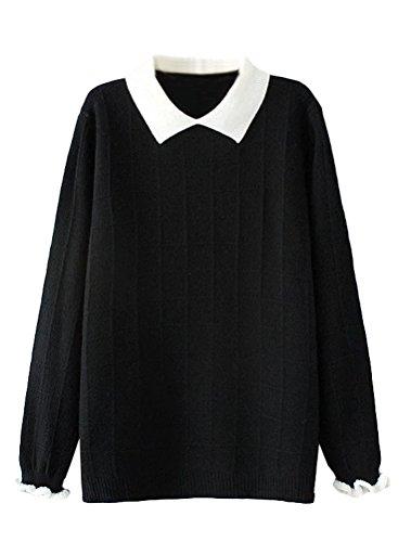 Minibee Women's Pan Collar Knitted Sweater Casual Pullover Sweatshirt Style1 Black XL