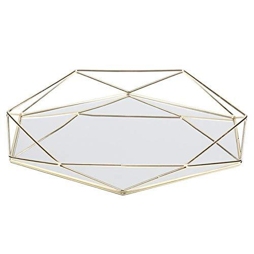 Jershal Bandeja de Almacenamiento de Joyas Baño Sexangle Espejo Metal Oro Cosmético Almacenamiento de Joyas Organizador Bandeja Caja Placa(Oro)