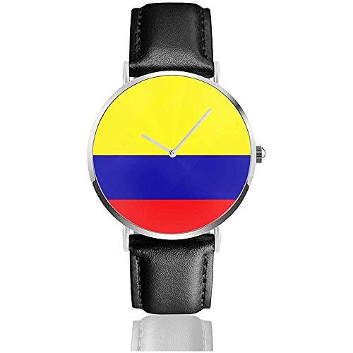Relojes de Pulsera con Correa de Cuero de Acero Inoxidable con Bandera de Colombia