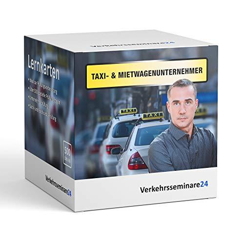 Lernkarten Taxi Mietwagen Unternehmer von Verkehrsseminare24   500 Karteikarten inkl. Box zur Aufbewahrung   DIN A6   Prüfung