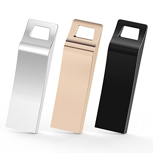 TOPESEL 3 Pack 32GB USB 2.0 Flash Drives Metal Memory Stick Waterproof Thumb Drive USB Stick for Windows MAC Android Linux Systems (3 Mixed Colors: Black, Gold, Silver)