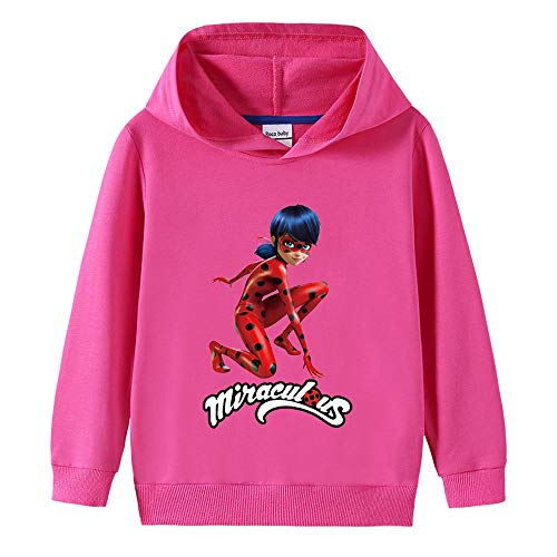 RJhjgfkjh Miraculous Ladybug Pullover Freizeit Pullover Karikatur-Druck Outwear Schöne Langarm Coats Bequeme Pullover Trend Thinner Sweatshirt Unisex Junge und Mädchen (Color : Red0201, Size : 90)