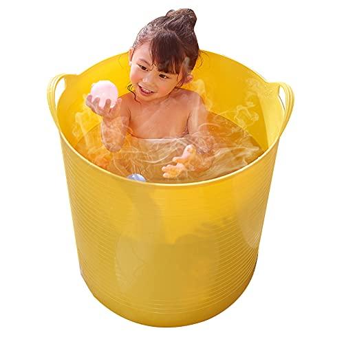 Cubo De Baño Niños Gemelos Tina Grande Baño En Casa Cubo De Natación para Niños Ducha Bañarse Barril(Size:51X47cm,Color:Amarillo)