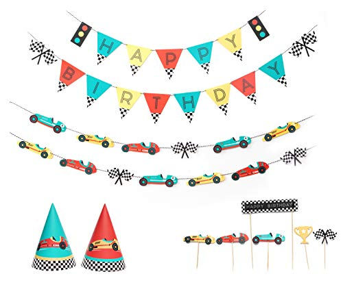 Vintage Race Car - Birthday Party Decoration Kit   12 Guest Party   Race Car Birthday Banner, Garland, Cupcake Toppers, Party Hats   Kids Birthday Party