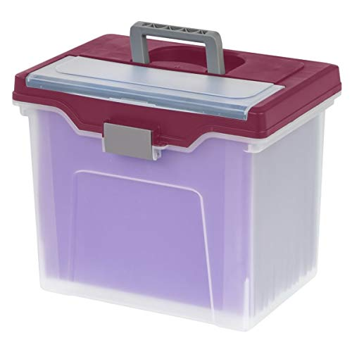 Office Depot Large Mobile File Box, Letter Size, 11 5/8in.H x 13 3/6in.W x 10in.D, Clear/Burgundy, 110986 Photo #2