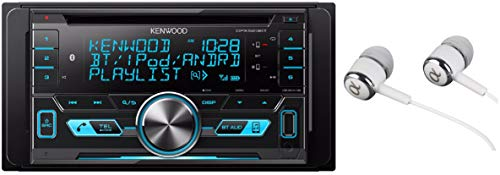 Kenwood Double-DIN In-Dash CD/MP3/USB Bluetooth AM/FM Car Stereo Receiver High Resolution Audio Compatibility Pandora/iHeart Radio/Spotify/iPhone and Android App Ready with ALPHASONIK EARBUDS