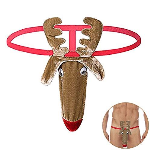 LAWARY Herren Strings Thong Tanga G-String Reindeer Bikini Lustig Unterwäsche Chrismas Weihnachten Kostüm Funny Unterhose